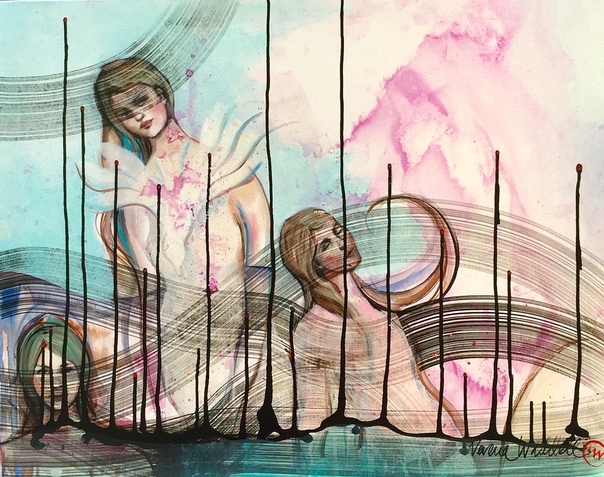 Verena Waddell visual artist original ink diving dove