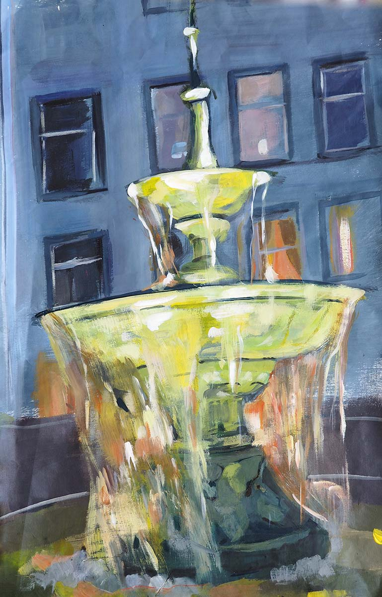 Verena Waddell visual artist print on canvas Fountain
