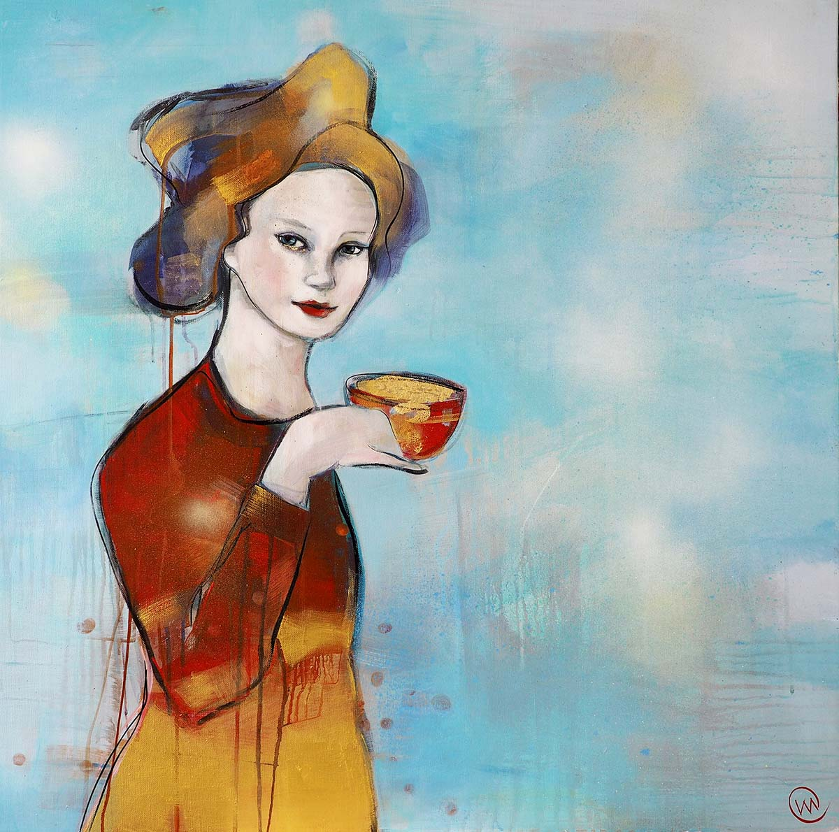Verena Waddell visual artist print on canvas Holding Gold