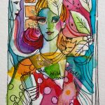 Verena Waddell ink original love the wild rose