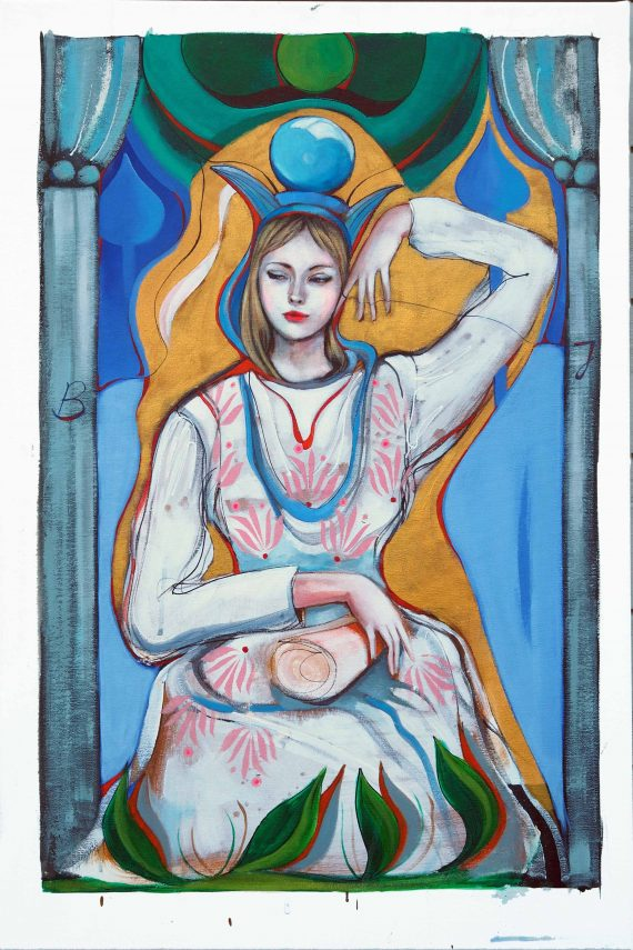 The High Priestesst Original and print unique for Tarot project Maleri Billedkunst